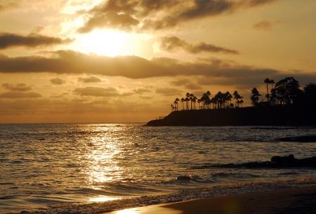 Sunset in the evening on Laguna sea beach