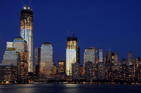 One World Trade Center in New York City downtown skyline at night