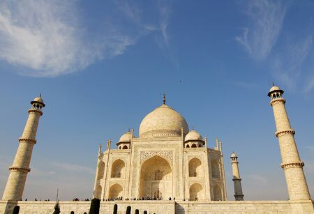 Taj Mahal at Agra India made of white marble by emperor Shah Jahan in memory of wife Mumtaj  photo