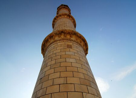 shah: Minaret of Taj Mahal at Agra India made of white marble by emperor Shah Jahan in memory of wife Mumtaj and is a UNESCO World Heritage Site