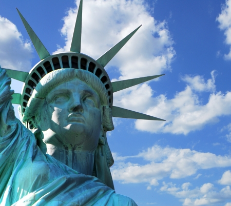 tarnish: Statue of Liberty a popular tourist attraction in in New York City USA
