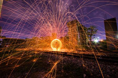 steel wool: Throw a light steel wool circle. Stock Photo