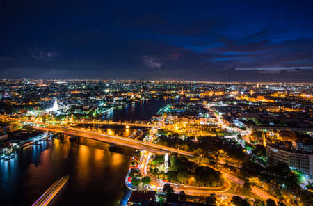 chao: Bangkok City Chao Phraya River Stock Photo