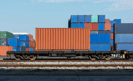 flatcar: Railway cargo containers containers 20FT Stock Photo