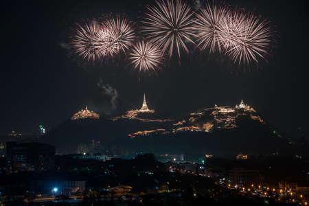 nakhon: Fireworks at Phra Nakhon Khiri Phetchaburi Stock Photo