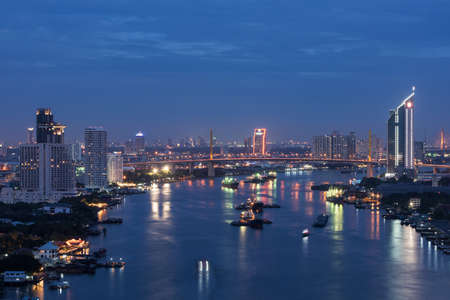 phraya: Bangkok City Chao Phraya River Stock Photo
