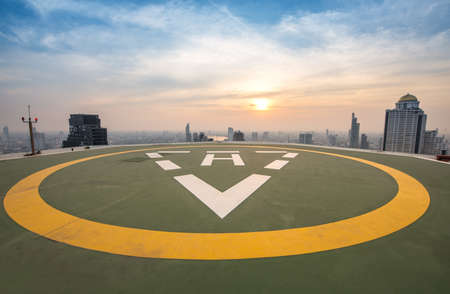 Heliport backdrop of the city Stock Photo