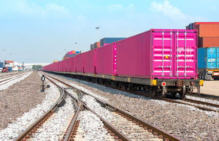 Railway cargo  Train transport cargo container 40FT to port