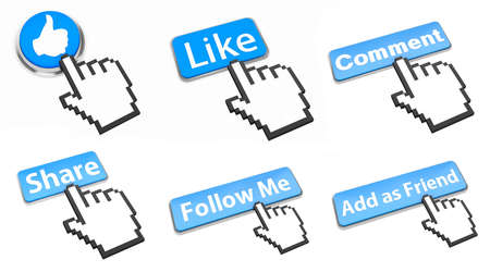 like, comment, share ,follow me ,Add as Friend,  button icon