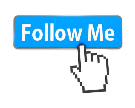 Hand-shaped mouse cursor press Follow Me button photo