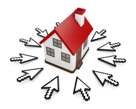 3D Cursors and house symbol Stock Photo