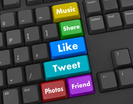 Social media and networking keyboard Stock Photo