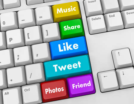 Social media and networking keyboard Stock Photo - 26100374