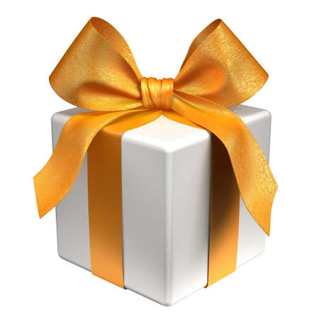 White gift box tied with a gold ribbon bow. Isolated on white with clipping path 3d render