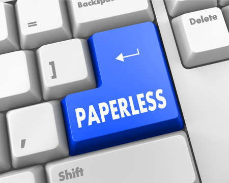 paperless: Paperless word on blue keyboard button
