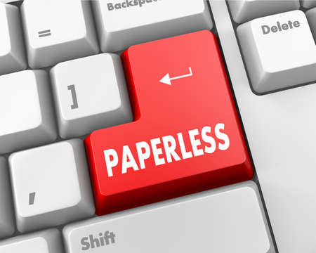 Paperless word on red keyboard button