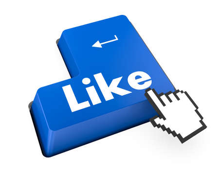Thumb Up Like Button key - Stock Image photo