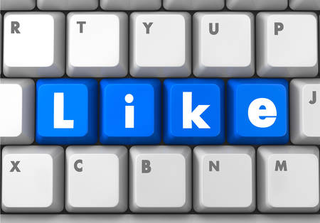 Social media concept: Enter button with Like on computer keyboard background, 3d render Stock Photo - 26100587