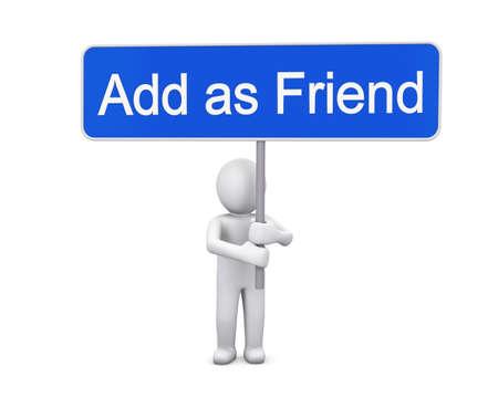 add as friend: add as friend 3d render