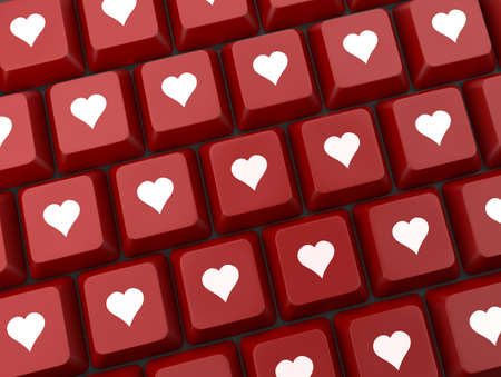 internet dating: Computer keyboard with love key, Valentines Day
