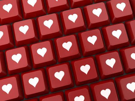 Teclado de ordenador con clave del amor, día de San Valentín Foto de archivo - 26100846