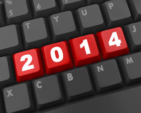 2014 new year key on keyboard 3D photo
