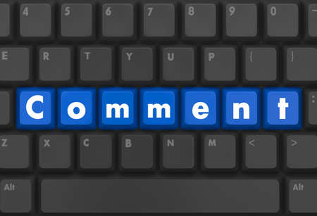 Keyboard  blue button showing the word comment photo