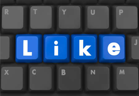Social media concept: Enter button with Like on computer keyboard background, 3d render photo