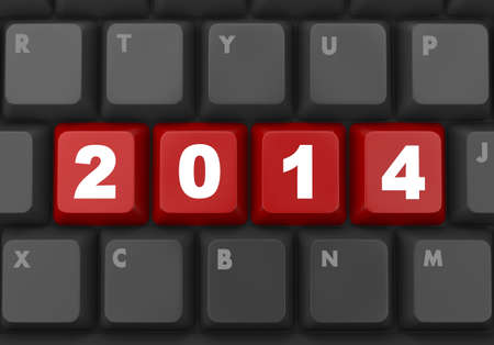 2014 new year key on keyboard 3D Stock Photo - 26100854