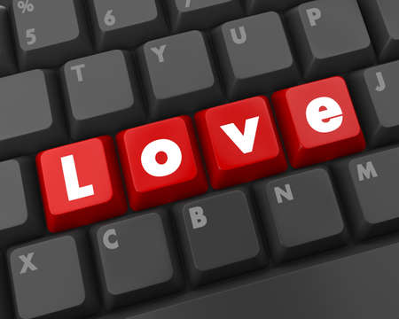 Smart keyboard with color button, love text and heart symbol  photo