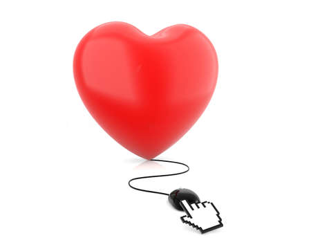 Internet Dating mouse click and red heart - Stock Image