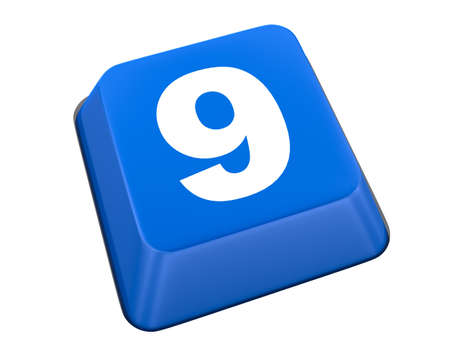 number9  icon keyboard bule 3d photo