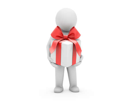 3d small person bears a red box-gift with a bow. 3d image. Isolated white background. photo