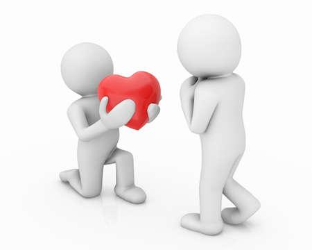 human character: 3d la gente - carattere umano, persona e un cuore rosso. Amore