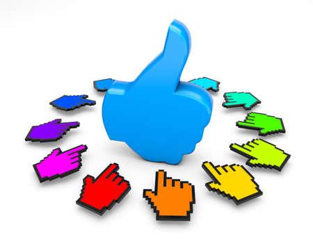 Thumbs up cursor Stock Photo