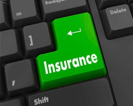 Insurance - Business Concept. Button on Modern Computer Keyboard. 3D Render. photo