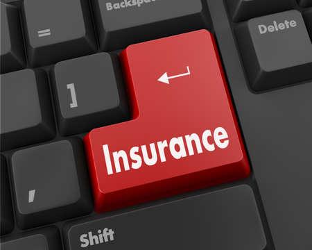 Insurance Button on Modern Computer Keyboard. 3D Render