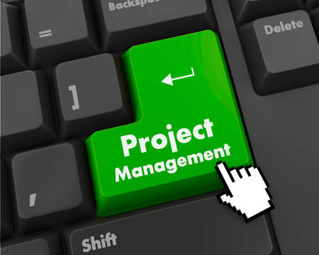Project Management Button on Computer Keyboard. Business Concept. Archivio Fotografico