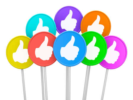 thumb up like man facebook Stock Photo