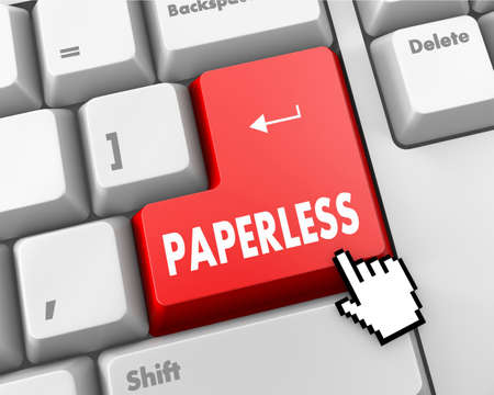 paperless: Paperless word on red keyboard button
