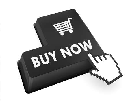 3D illustration of keyboard with  shopping button illustration