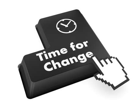 Timeline concept: computer keyboard with Clock icon and word Time for Change on enter button background, 3d render photo