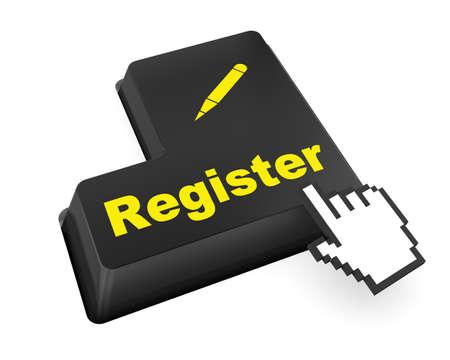 voter registration: Closeup of register key in a modern keyboard, raster