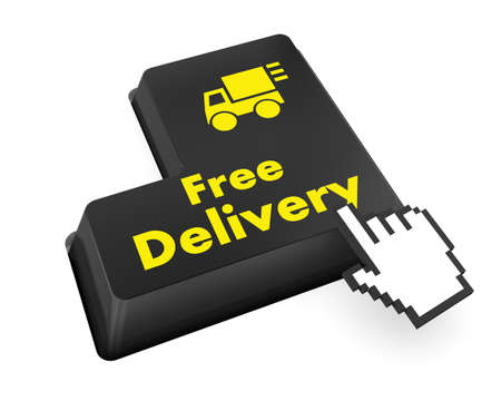 free delivery key on laptop keyboard button, raster photo