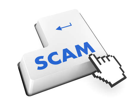 Scam Computer Keys Showing Swindles And Fraud photo