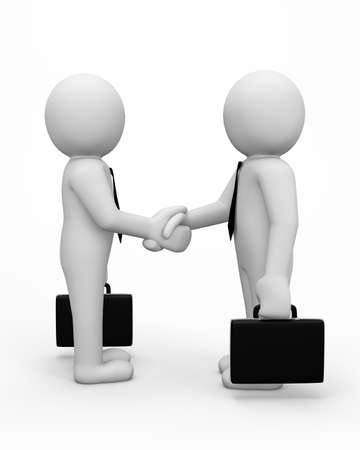 guy standing: 3d business men making a deal and shaking hands - Isolated