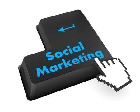 social marketing on computer keyboard key button, raster photo