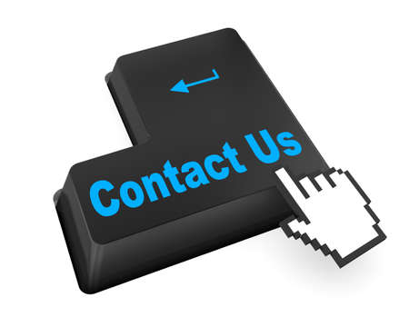 A contact us message on keyboard, internet or online contact through website.