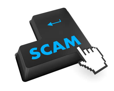 con man: Scam Computer Keys Showing Swindles And Fraud Stock Photo