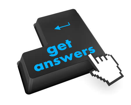 A keyboard with a key reading get answers Stock Photo